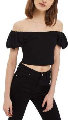 Women's Topshop Bubble Off The Shoulder Crop Top $25 thestylecure.com