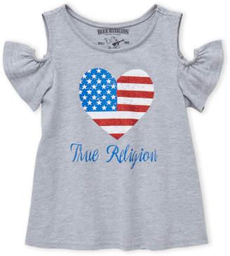True Religion Girls 4-6x) American Flag Cold Shoulder Top