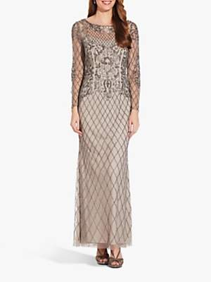 Adrianna Papell Beaded Long Gown Dress, Platinum