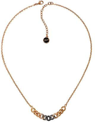 Karl Lagerfeld Paris Essentials Rosegold Crystal and Jet Hematite Crystal Ombre Chain Necklace