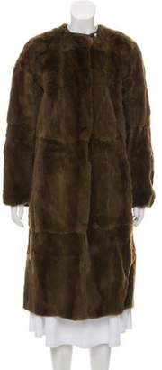 Prada Leather-Trimmed Sheared Fur Trench