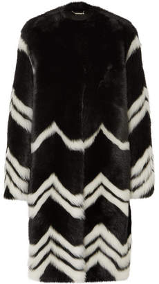 Givenchy Chevron Shearling Coat - Black