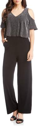 Karen Kane Cold Shoulder Glitter Jumpsuit