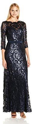 Tadashi Shoji Women's Sequined Three-Quarter Sleeve Gown with Belt $508 thestylecure.com