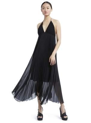 Alice + Olivia Lariette Pleated Ruffle Midi Dress