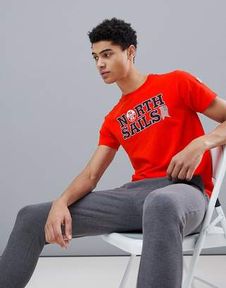 North Sails Slim Fit Text Logo T-Shirt In Red