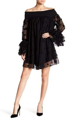 Gracia Polka Dot Mesh Layered Ruffle Sleeve Dress