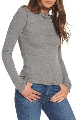 Women's Hinge Long Sleeve Ruffle Tee $49 thestylecure.com