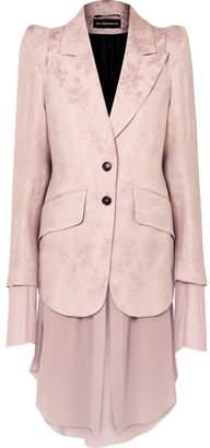 Ann Demeulemeester Rosalia Layered Brocade And Chiffon Blazer - Pink