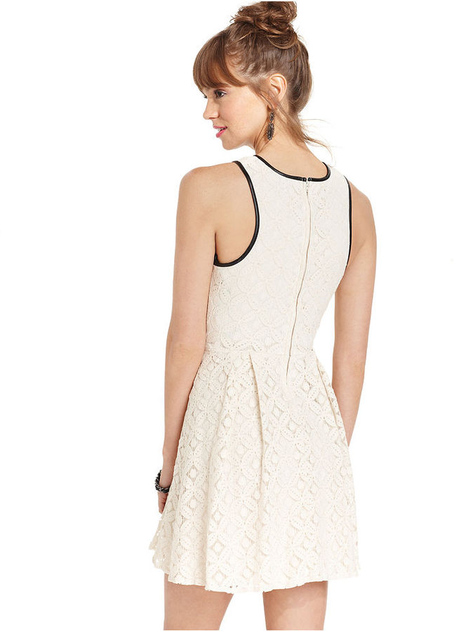City Studios Juniors Dress, Sleeveless Lace Piped A-Line
