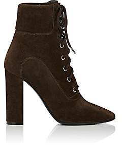 Barneys New York Women's Suede Lace-Up Ankle Boots-Brown