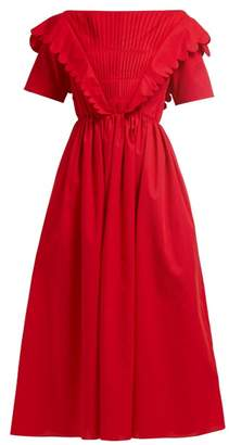 Horror Vacui - Flabella Scalloped Trim Cotton Dress - Womens - Red