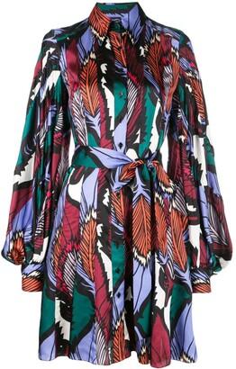 Carolina Herrera feather printed shirt dress
