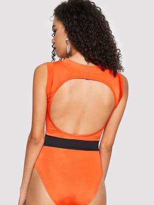 Shein Cut-out Back Contrast Waist Bodysuit