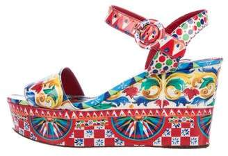 Dolce & Gabbana Printed Wedge Sandals