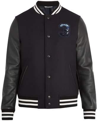 Valentino Logo-embellished wool and leather varsity jacket