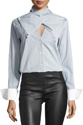 Palmer Harding Palmer//Harding Bow-Front Striped Long-Sleeve Poplin Shirt