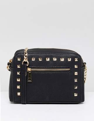 Asos Design DESIGN stud zip front cross body bag