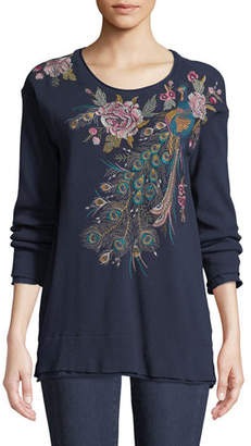 Johnny Was Quito Long-Sleeve Thermal Embroidered Top, Petite