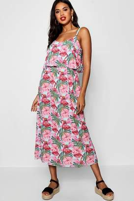 boohoo Ruffle Top Flamingo Print Midaxi Dress