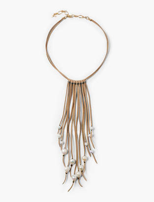 Lucky Brand Leather Pearl Necklace
