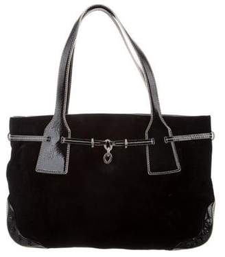 Tod's Patent Leather-Trimmed Suede Tote
