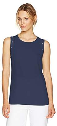 Nautica Women's Sleeveless Flowy Top with Lacy Detail