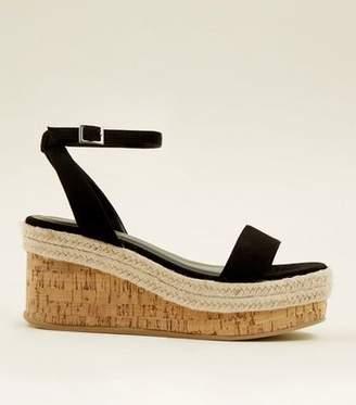 New Look Black Suedette Espadrille Cork Platform Sandals