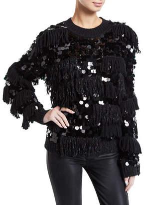 Diane von Furstenberg Alix Shaggy Sequined Wool Pullover Sweater