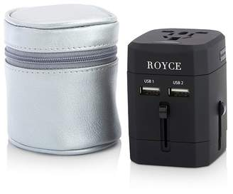 ROYCE New York International Travel Adapter in Leather Carrying Case