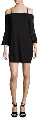 Ella Moss Annalia Cold-Shoulder Lace Mini Dress, Black $198 thestylecure.com