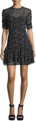 Tanya Taylor Juneberry Floral-Print Silk Short Dress