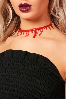 boohoo Halloween Blood Drip Choker