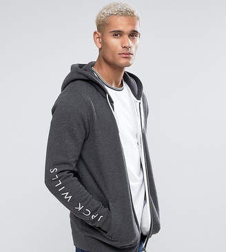 Jack Wills Granville Zip Through Hoodie With Sleeve Print In Grey