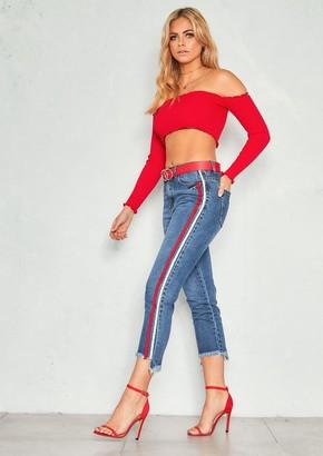Missy Empire Missyempire Scarlet Denim Stripe Distressed Hem Jeans