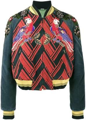 Gucci embellished parrot bomber jacket