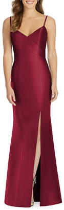 Alfred Sung V-Neck Spaghetti-Strap Sateen Twill Gown Bridesmaid Dress with Slit