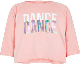 River Island Girls RI Active Pink 'dance' crop sweat top