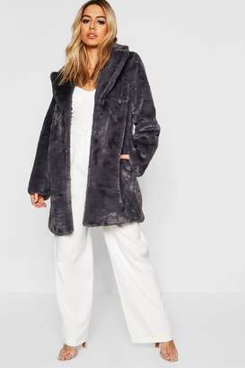 boohoo Petite Revere Collar Faux Fur Coat