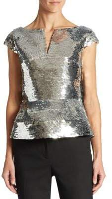 Oscar de la Renta Sequin Embellished Top