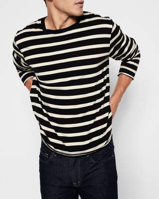7 For All Mankind Long Sleeve Stripe Crew in Ivory