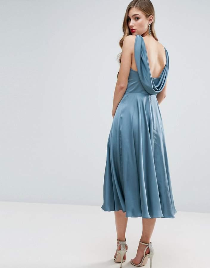 AsosASOS WEDDING Premium Drape Cowl Back Midi Dress