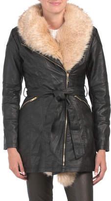 Faux Leather Faux Fur Fashion Coat