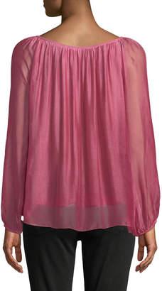 Moda Seta Lace-Front Fold-Over Silk Blend Blouse