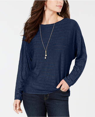 Style&Co. Style & Co Petite Ribbed Drop-Shoulder Pullover Top