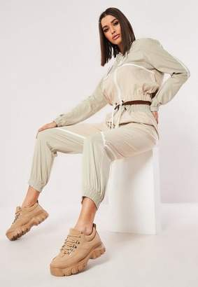 Missguided Peach Contrast Joggers Co Ord, Camel