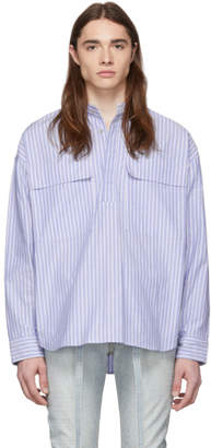 Fear Of God Blue and White Dad Stripe Pullover Henley Shirt