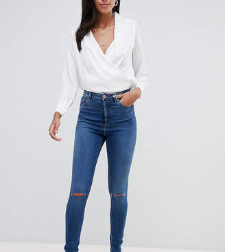 Asos Tall DESIGN Tall Ridley high waist skinny jeans in extreme dark stonewash with button fly and ripped knee