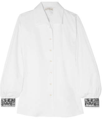 Etro Embellished Embroidered Cotton-poplin Shirt - White
