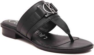 4bdb94f68144 Calvin Klein Black T Strap Women s Sandals - ShopStyle